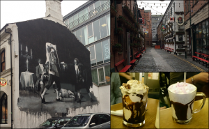 Belfast side streets & artwork (left & top right); Maggie May's milkshake & ice cream sundae after a trip to the Ulster Museum! (bottom right)