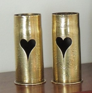 Research suggests that these shell cases are associated with the engagement or marriage of a soldier on the Western Front and his fiancé who worked in a munitions factory in the North of England.